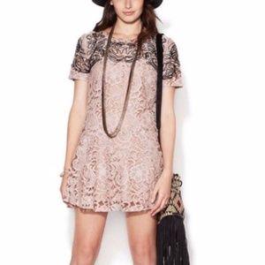 Free People Beautiful Dreamer Lace Mini Dress L